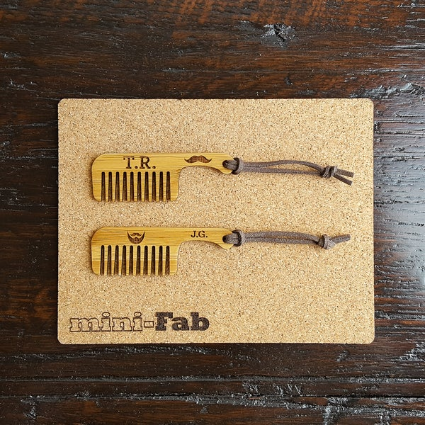 Image of Mustache & Beard Comb Set - Personalized Small Men's Grooming Accessory - Stocking Stuffer