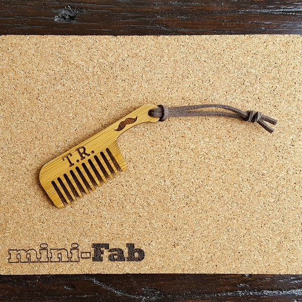 Image of Wood Mustache Comb - Personalized Small Men's Grooming Pocket Accessory - Handmade Wood Gift