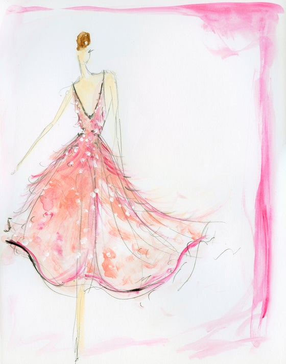 "Image of ""Feather Dress"" Sketch Print"
