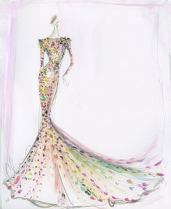 Image of Sequin Trumpet Gown Sketch Print