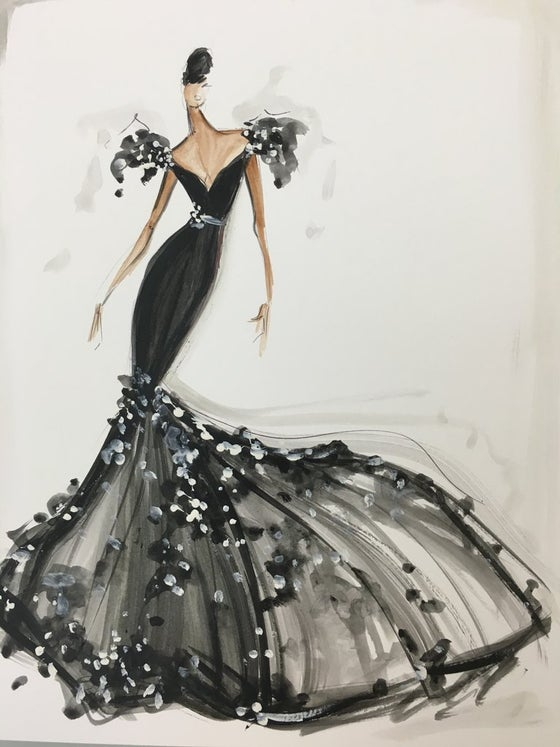 Image of Embellished Trumpet Gown Sketch Print