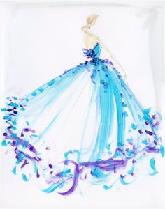 Image of Multi-Color Ball Gown Sketch Print