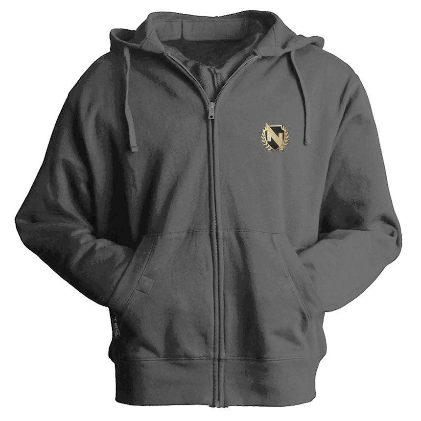 Image of Crest Zip up Hoodie In Grey