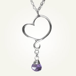 Image of Aphrodite Mini Heart Necklace with Amethyst, Sterling Silver