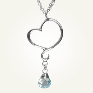 Image of Aphrodite Mini Heart Necklace with Sky Blue Topaz, Sterling Silver