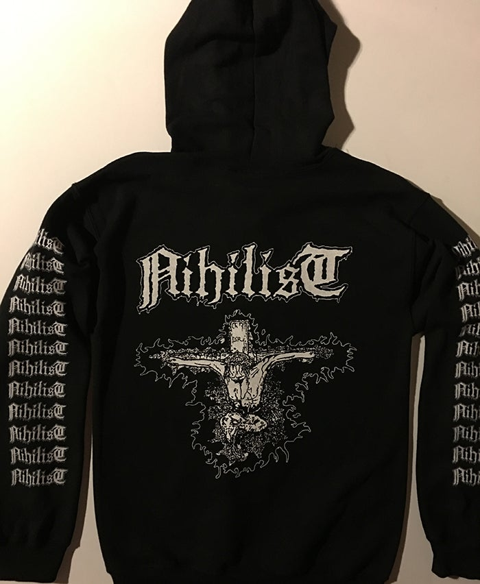 "Image of Nihilist "" Radiation Sickness "" Hooded Sweatshirt with logo Sleeve prints"