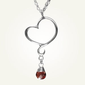 Image of Aphrodite Mini Heart Necklace with Garnet, Sterling Silver
