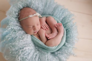 Image of Round Curly Felted Blanket - BABY BLUE