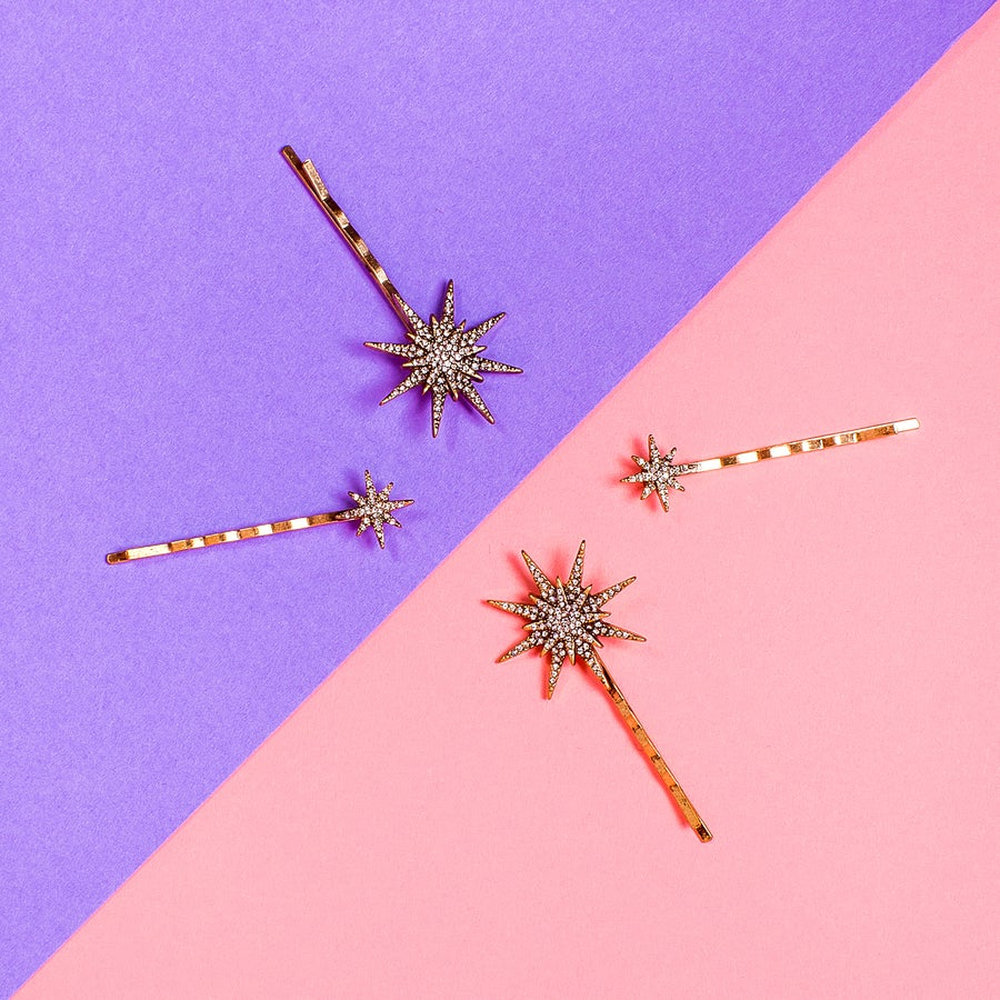 Image of Crystal Embellished Aurora Star Bobby Pin Pair