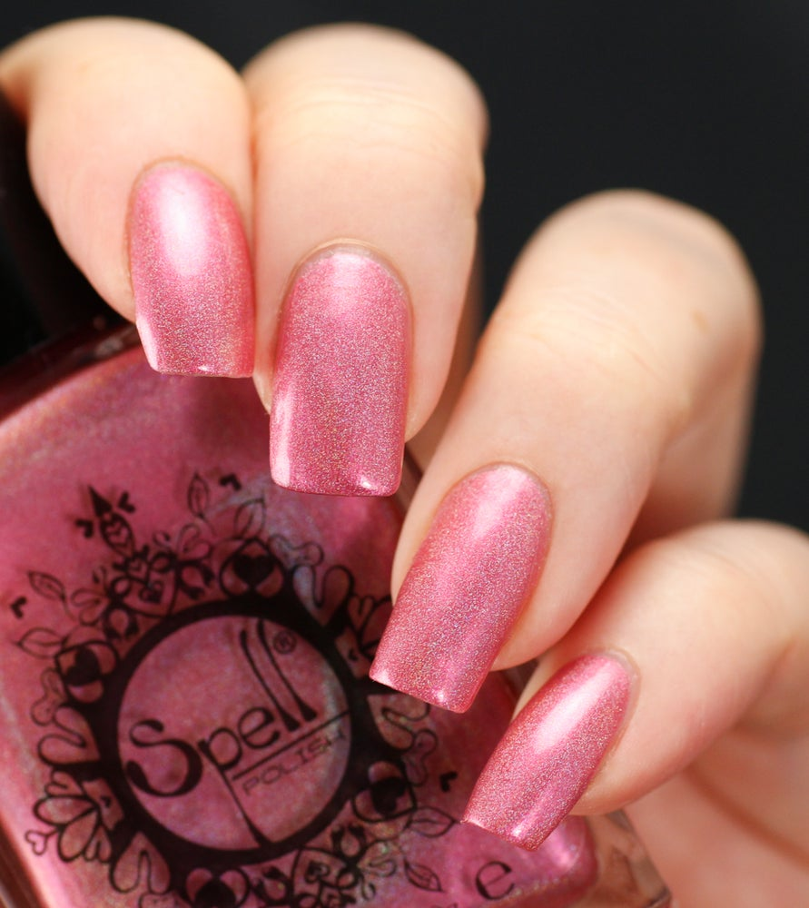 "Image of ~Kitty Winks~ pink holo chrome nail polish ""Charlie Loves Bella"" Spell Polish!"