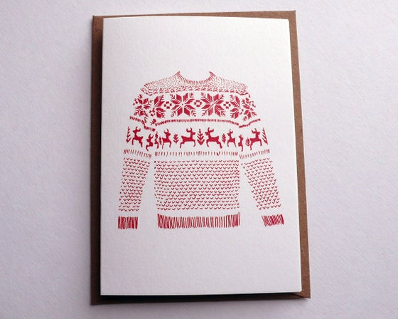 Image of CHRISTMAS CARD 5 PACK / RED JUMPER (Digitally Printed) A7 SIZE, BLANK INSIDE