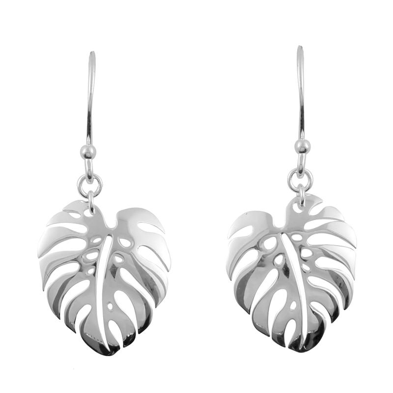 Image of Sterling Silver Monstera Earrings