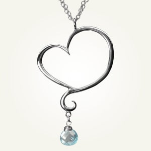 Image of Aphrodite Heart Necklace with Sky Blue Topaz, Sterling Silver