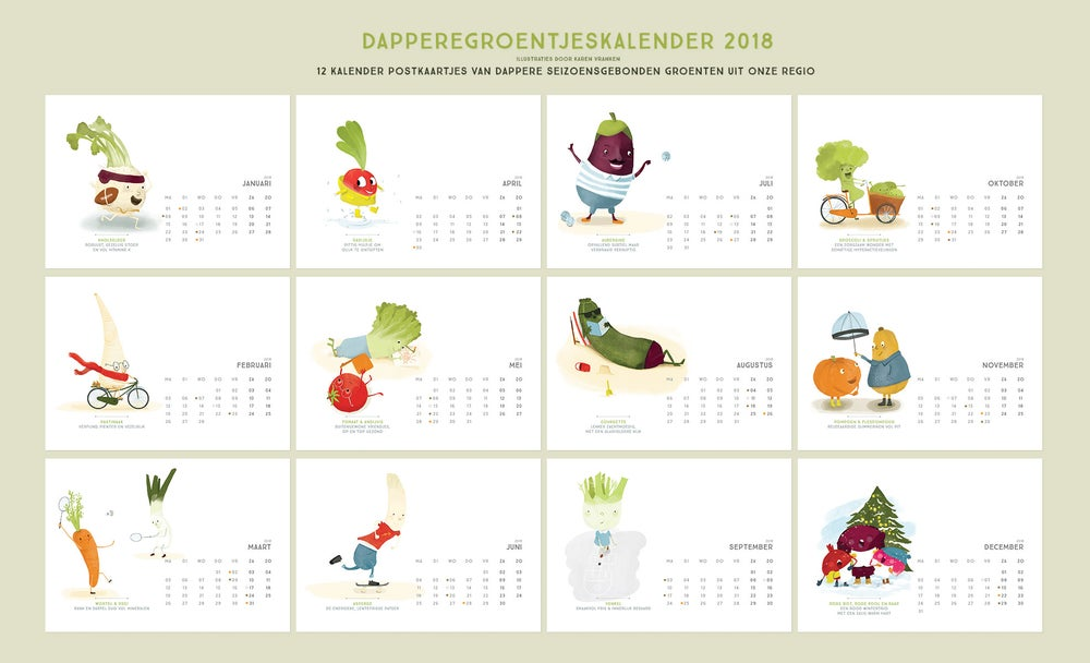 Image of Brave veggies postcard calendar of 2018 - Now on Sale!