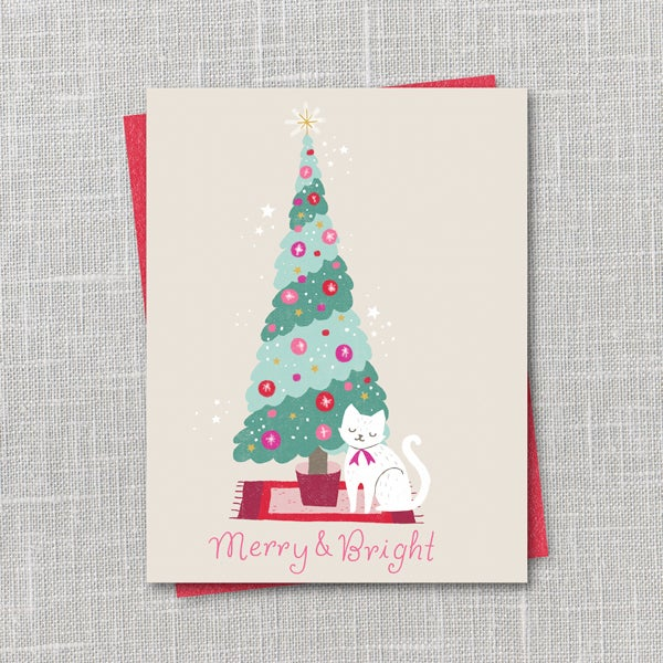 Image of Merry & Bright Holiday Notecard Instant Download PDF