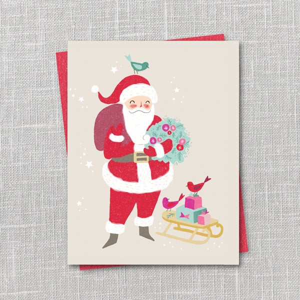 Image of Santa Holiday Notecard Instant Download PDF