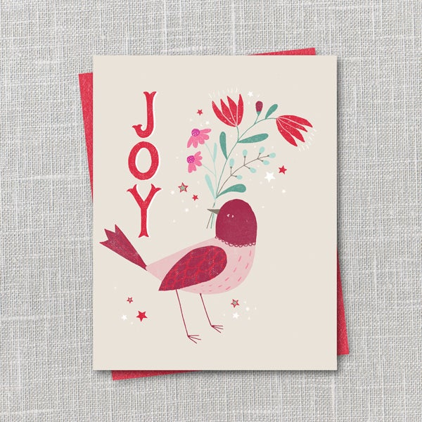 Image of Joy Bird Holiday Notecard Instant Download PDF