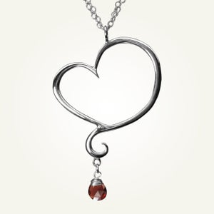Image of Aphrodite Heart Necklace with Garnet, Sterling Silver