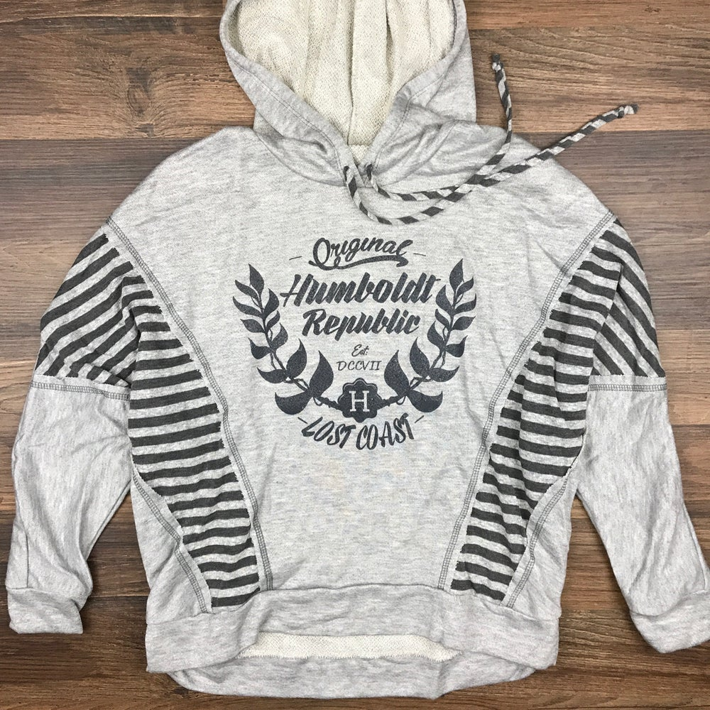"Image of ""Origins"" Ladies Hi-Lo Cut & Sew Cropped Hoodie"