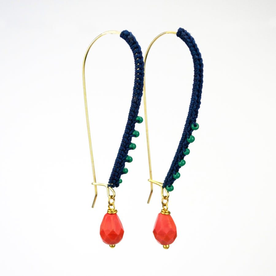 Image of Wrapped Kidney Wire Earrings (Indigo Blue)