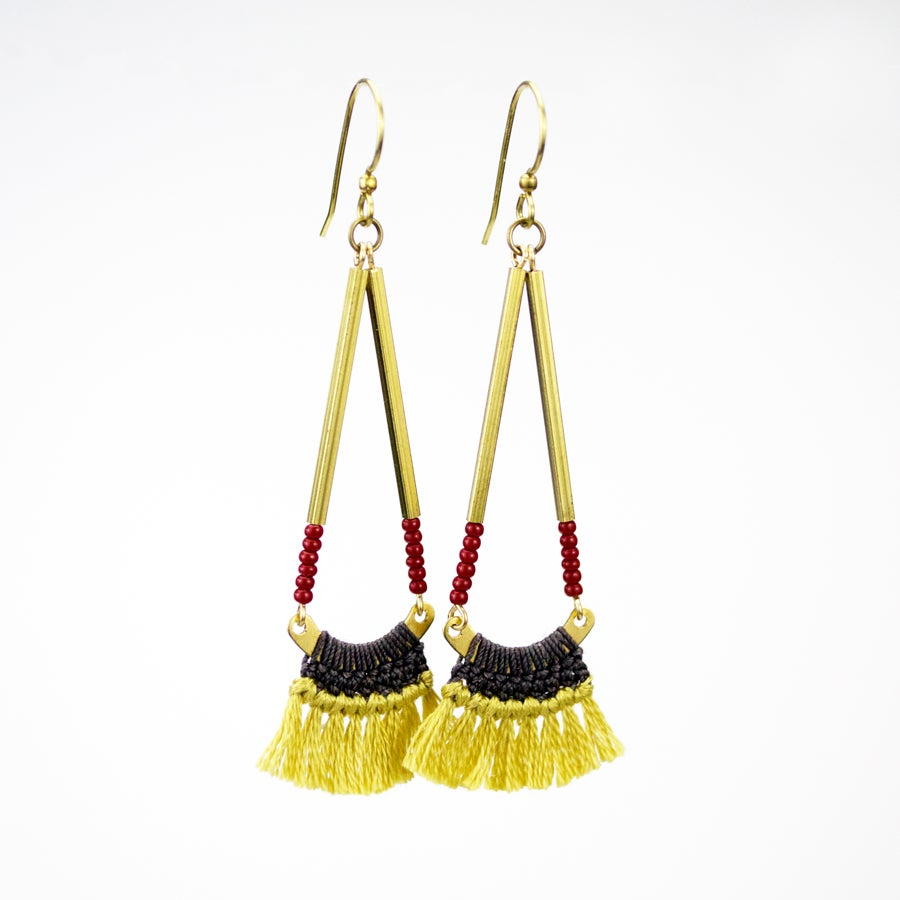 Image of Bagwis Earrings (Shiitake Gray/Mustard Yellow)