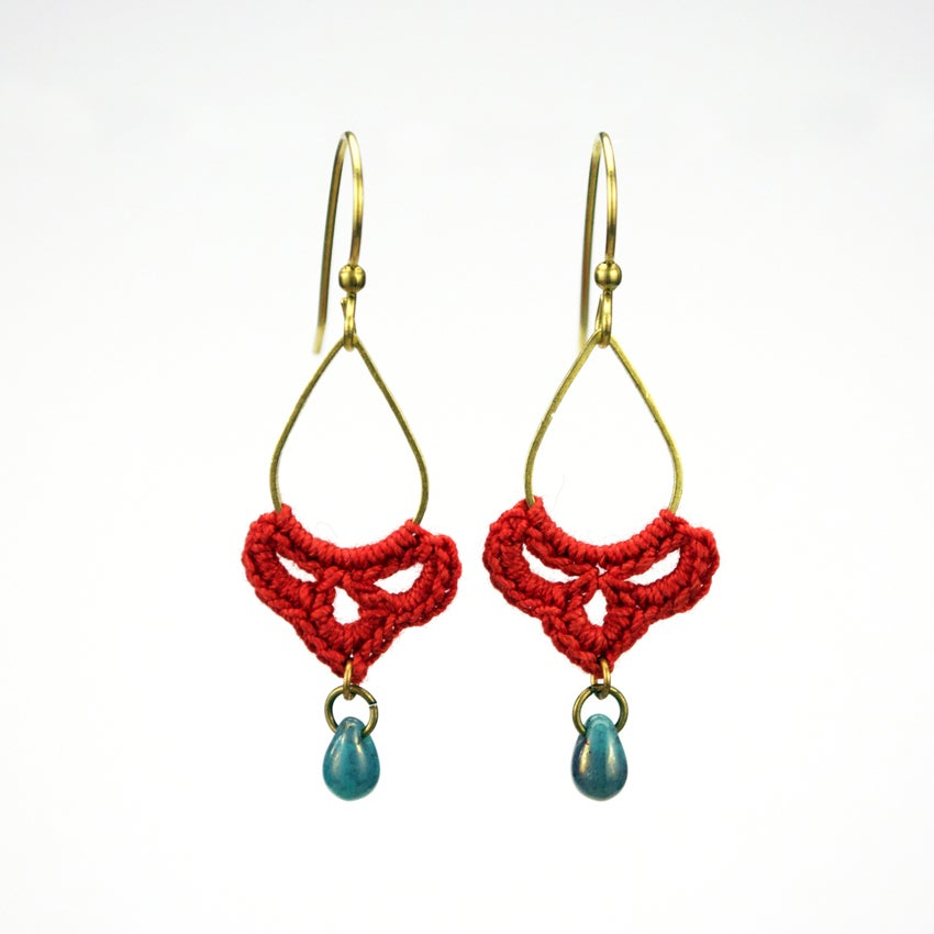 Image of Small Teardrop Hoops (Fall Flame Red)