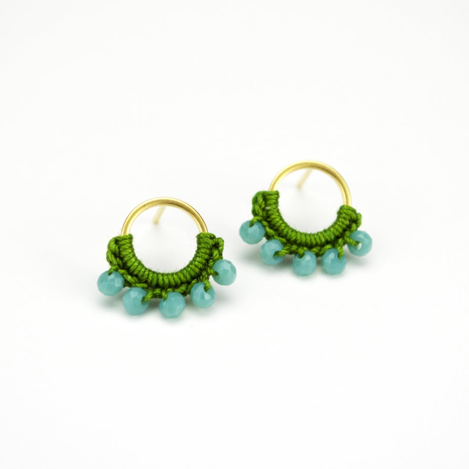 Image of Round Post Earrings (Herb Green)