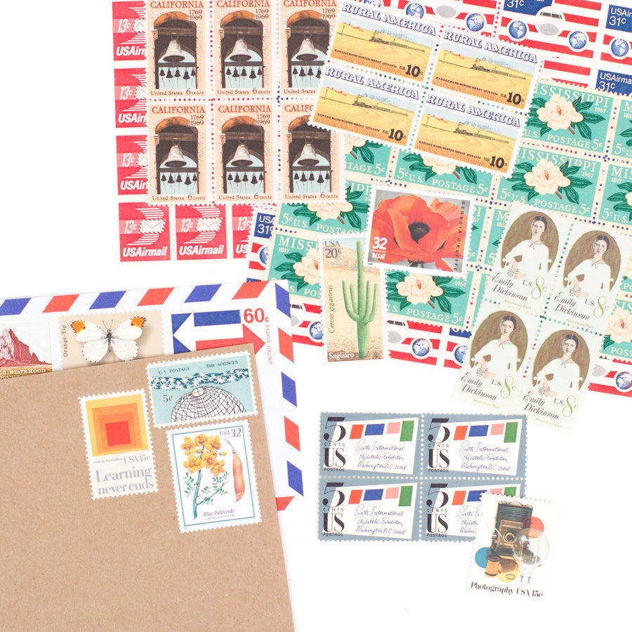 Image of Vintage Postage Stamps for 12 Letters