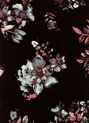 Image of Bailey Floral Print - Aqua on Black