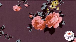 Image of Vivian Floral Print - Mauve Roses on Lilac