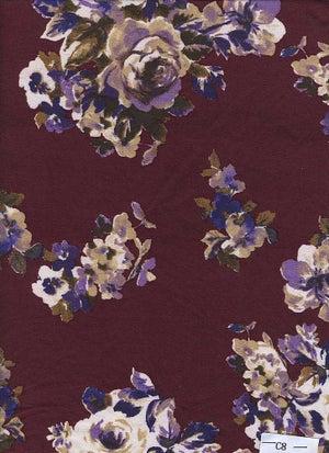 Image of Elizabeth Floral Print - Lavendar Roses on Wine