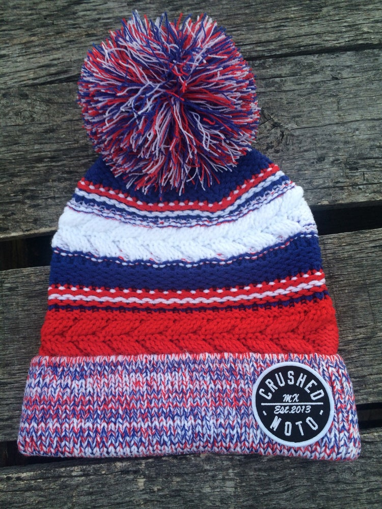 Image of Red White and Blue Crushed MX Pom Pom Beanie