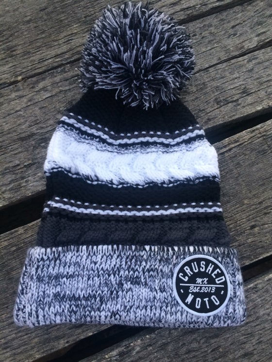 Image of Grey Black White Crushed MX Pom Pom Beanie