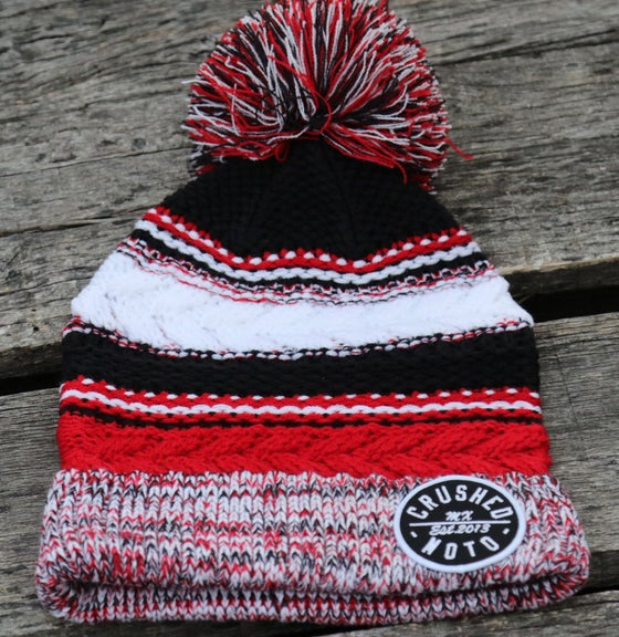 Image of Red And Black Crushed MX Pom Pom Beanie