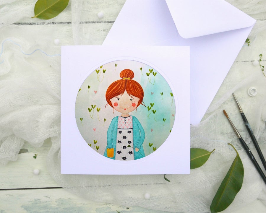 Image of Cat lady - illustrated greeting card