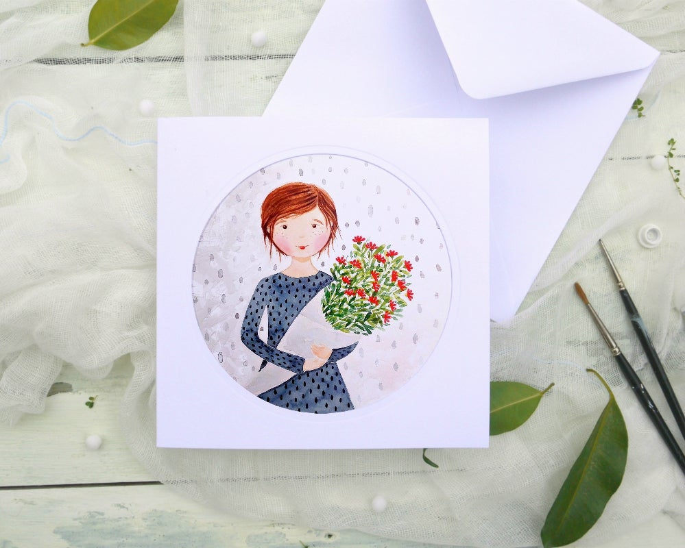 Image of Girl with flowers - illustrated greeting card
