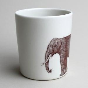 Image of 16oz mug with elephant, ivory