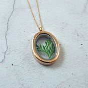 Image of Imogen - Rose Gold Botanical Leaf Sprig Locket