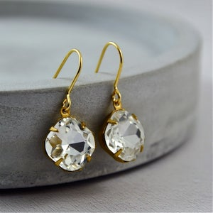 Image of Hayworth - Gold Crystal Jewel Earrings
