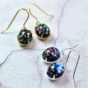 Image of Noir - Black Oval Fire Opal Earrings