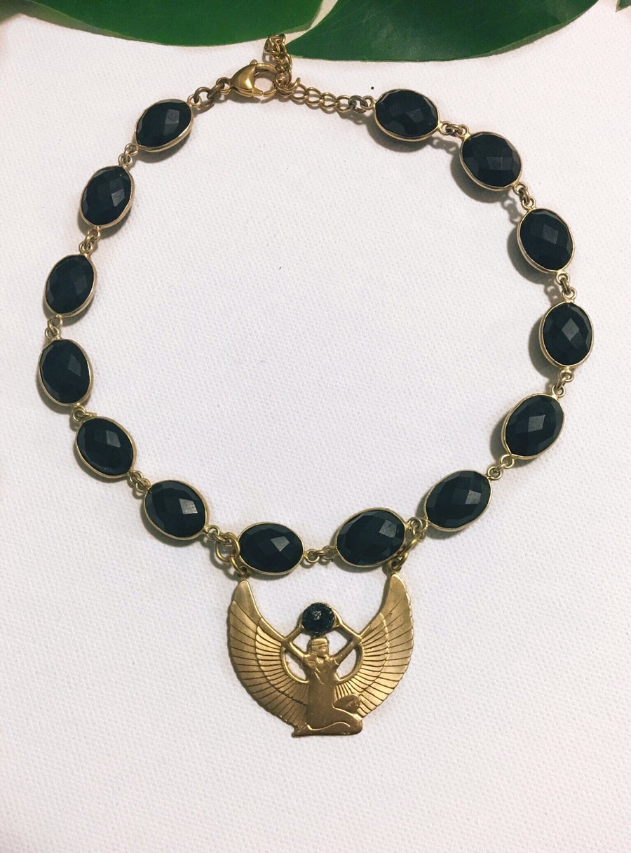 Image of BLACK ONYX ARISE • Black Onyx Auset Necklace