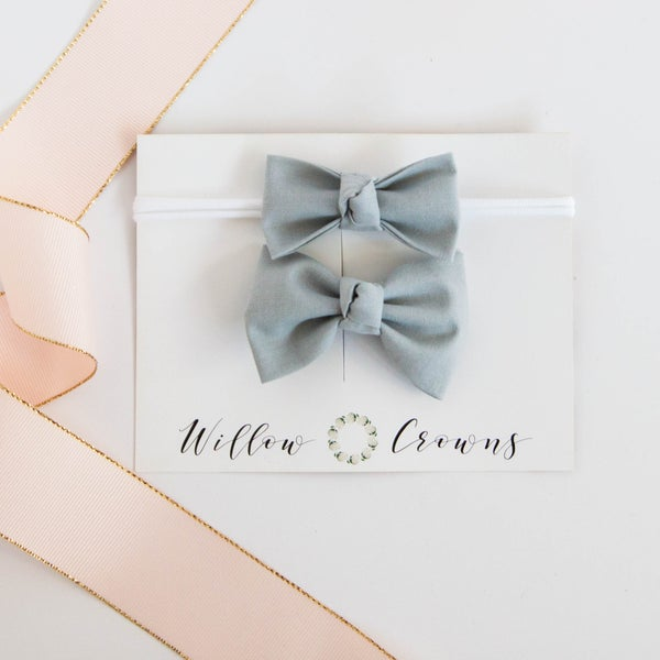 Image of Gray Knotted Bow Sister Set