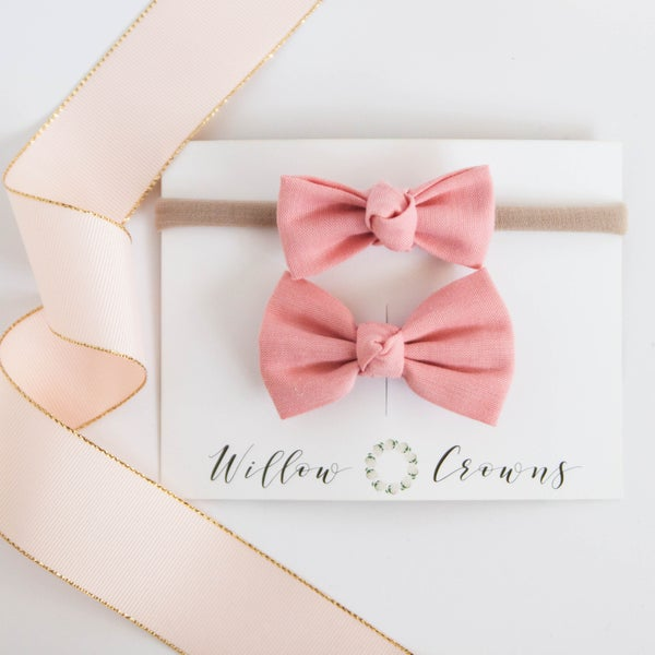 Image of Blush Knotted Bow Sister Set