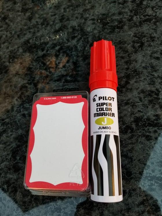 Image of JUMBO RED PILOT MARKER + 100 BLANK RED BORDER SLAPS