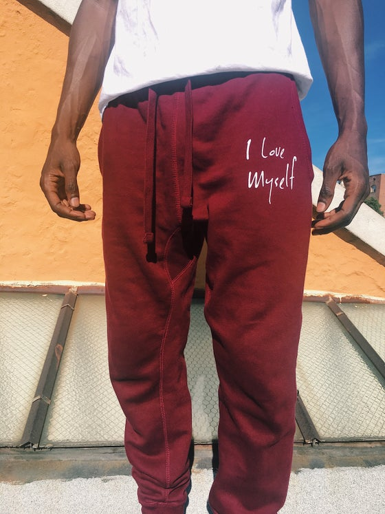 Image of Maroon ILoveMyself joggers