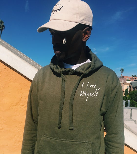 Image of Olive green ILoveMyself hoodie
