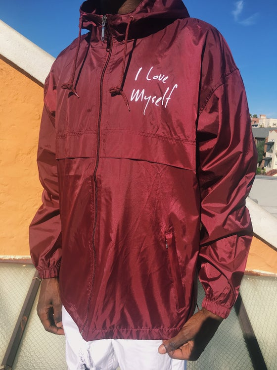 Image of Burgundy ILoveMyself windbreaker