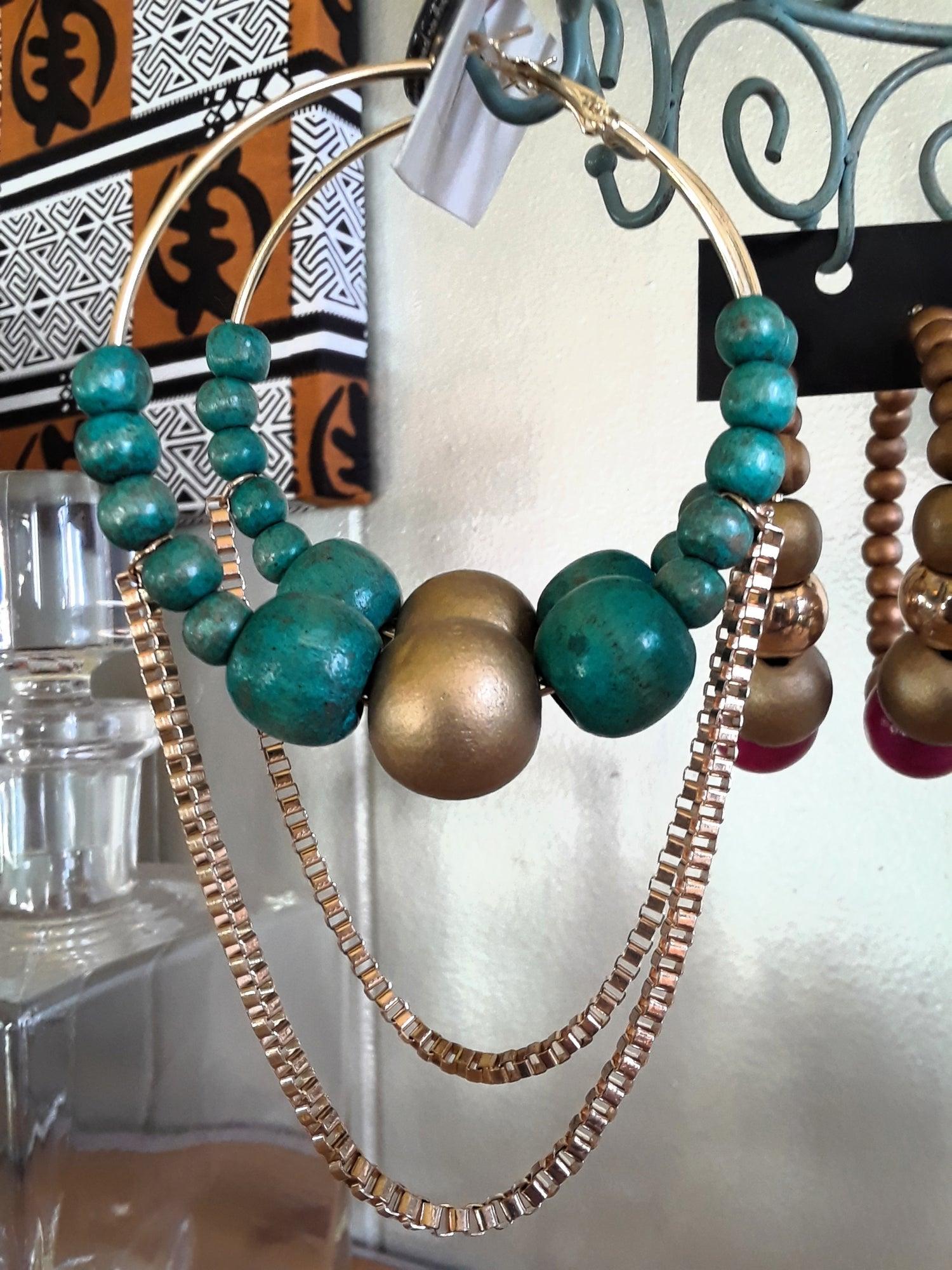 Image of Turquoise Wood Hoop Earrings