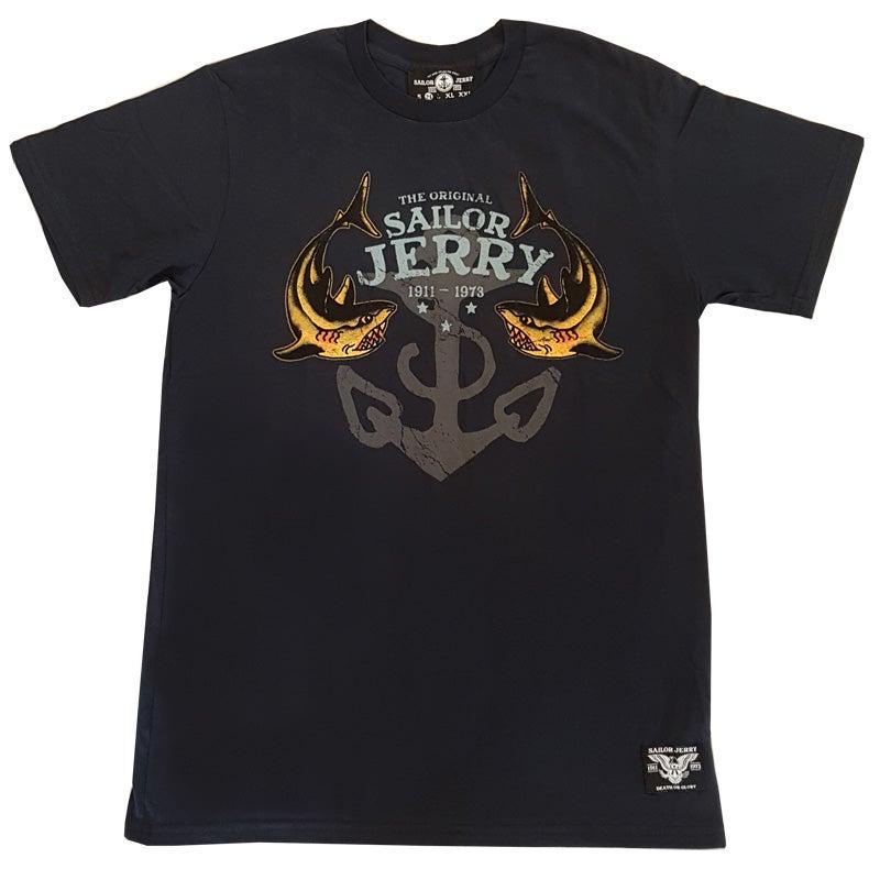 Image of Sailor Jerry Men's T-shirt - Twice Bitten, Two Sharks - Navy