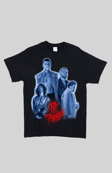 Image of Limited Edition - Pet Fangs Cerveza Band Photo T-Shirt with Glowing Red Logo (World Turr Winter 17)